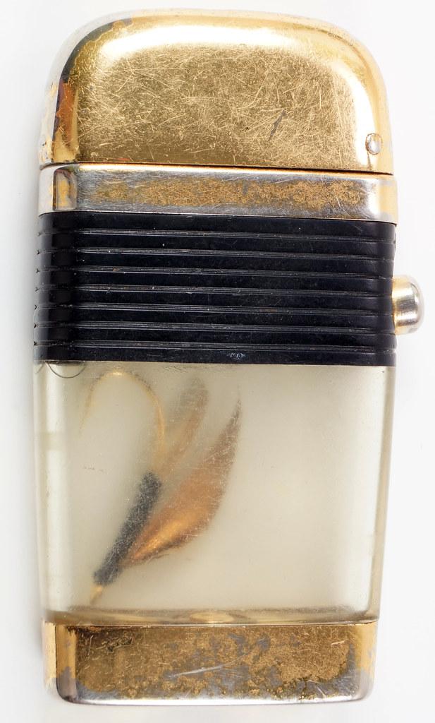 RD28589 Vintage Scripto VU LIGHTER Black Fishing FLY Lure with BLACK BAND DSC03809