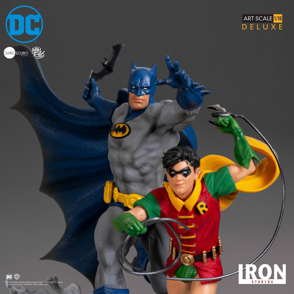 蝙蝠俠的姿勢意外地有喜感~! Iron Studios DC Comics【蝙蝠俠與羅賓 (Batman & Robin) 豪華版 by Ivan Reis】1/10 比例全身雕像
