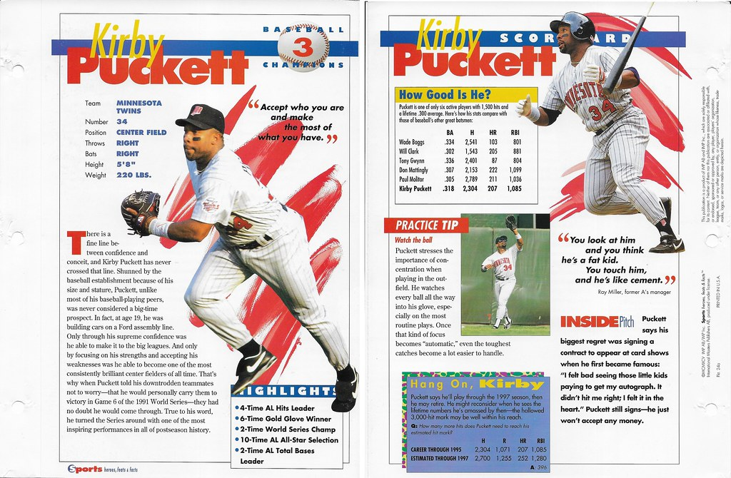 1995 kirby puckett baseball 24a
