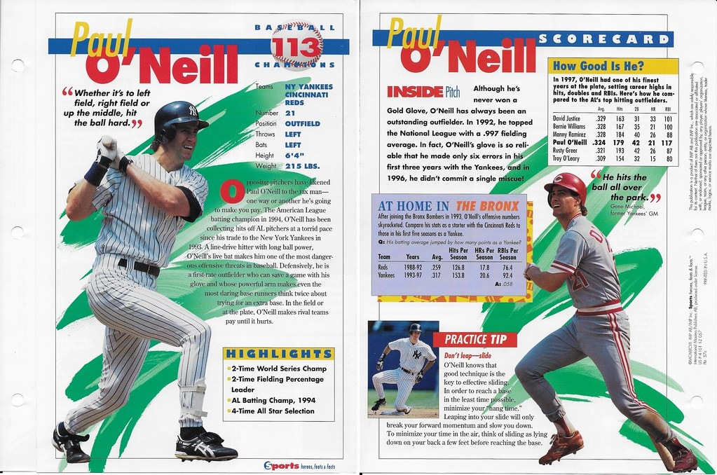 1997 paul oneill baseball 57c