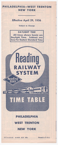 Reading Phila W Trenton NY Cover 1956