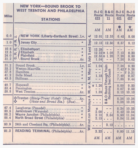 Reading Phil W Trent NY Sched 1956