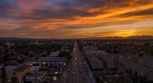 sunset fire sky clouds pink orange losangeles valley epicsunset