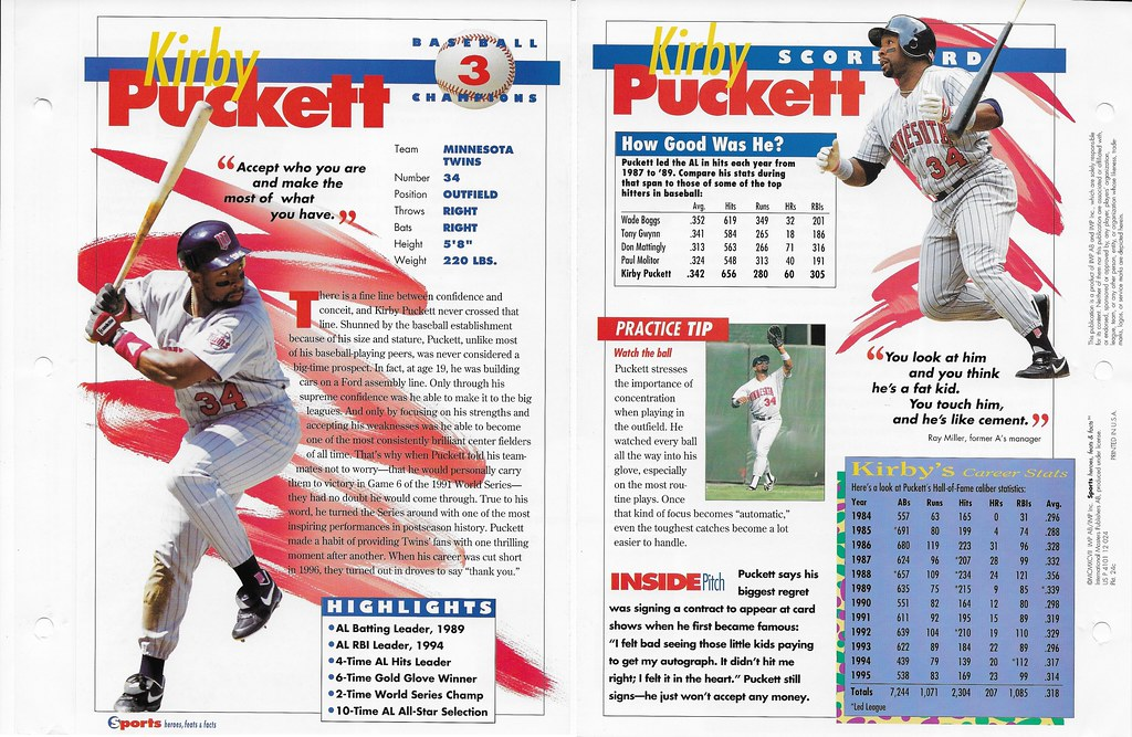 1997 kirby puckett baseball 24c