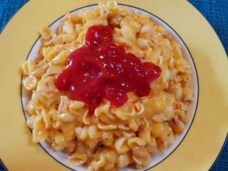 Daiya Cheddar Mac and Cheese with Baked Beans and Bacon Bits