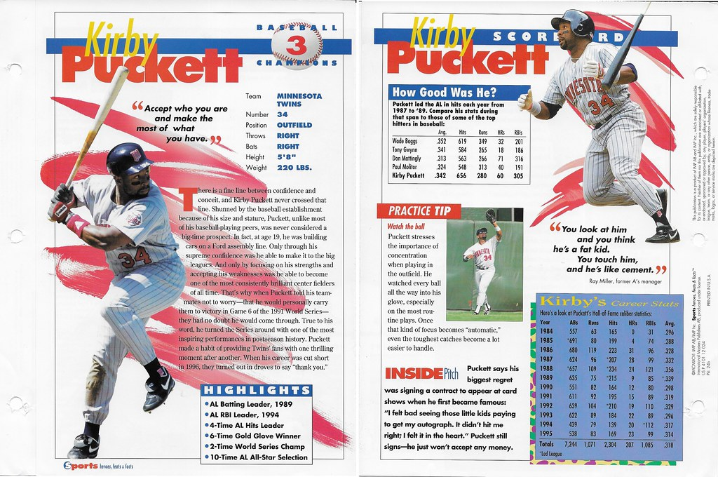 1996 kirby puckett baseball 24b