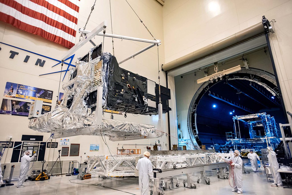 Lockheed Martin's fully-assembled SBIRS GEO 5 missile warning satellite moves into the Thermal Vacuum (TVAC) test chamber.
