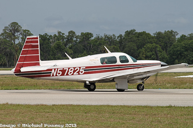 N57825 - 1984 build Mooney M.20K (Rocket 305 conversion), taxiing for departure at Lakeland during Sun 'n Fun 2013