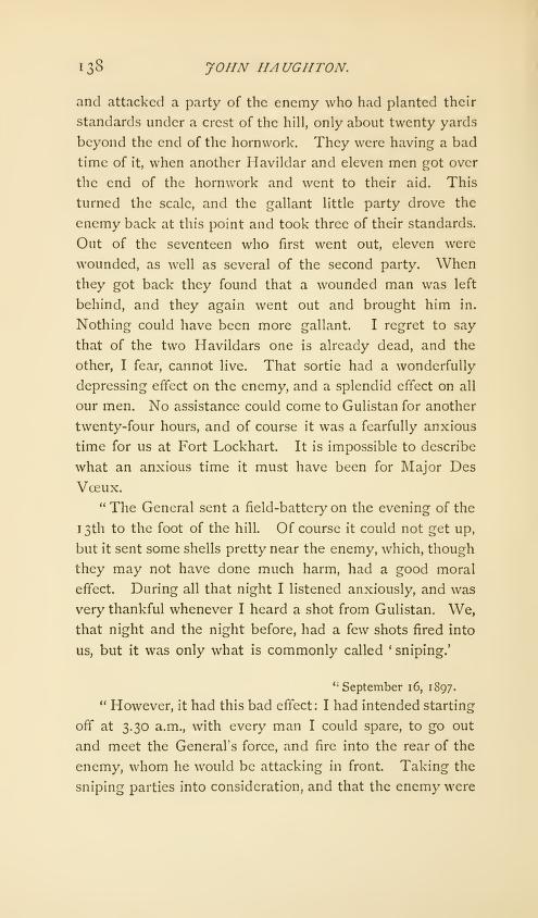 Col John Haughton letters on Saragarhi