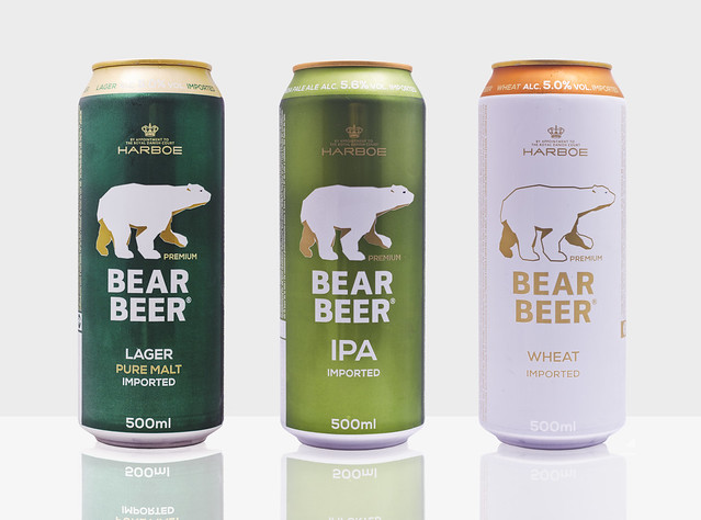 Bear Beer Beer Can Family on white