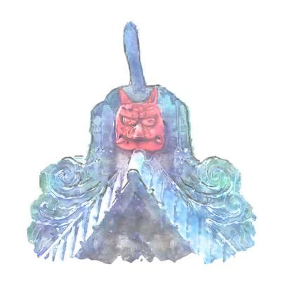 比叡山延暦寺の根本中堂の赤い鬼瓦(南側の鬼瓦(二本角の赤鬼)(イメージ図))