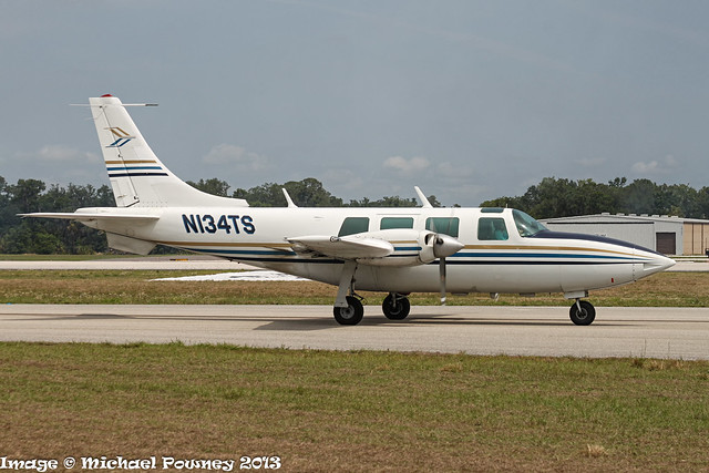 N134TS - 1973 build Ted Smith Aerostar 601, taxiing to parking on arrival at Lakeland during Sun 'n Fun 2013