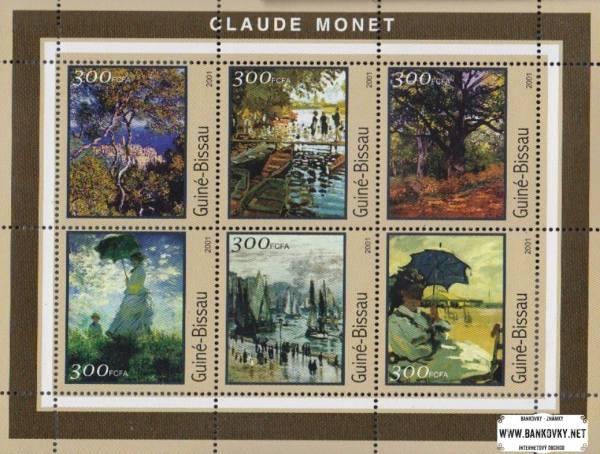 Známky Guinea Bissau 2001 Umenie Monet, razítkovaný hárček