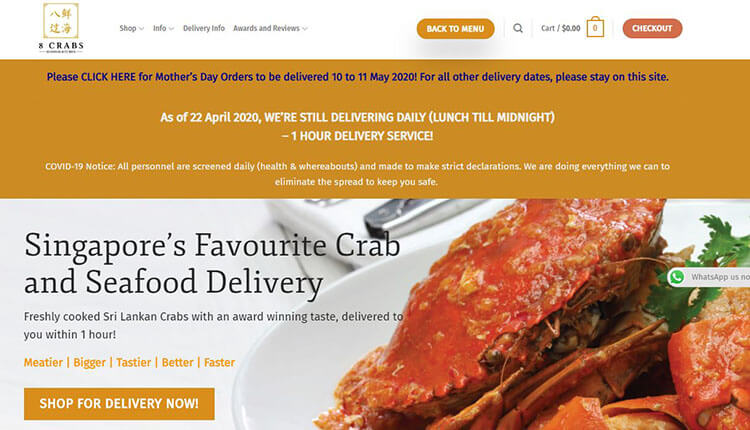 8 Crabs singapore delivery website