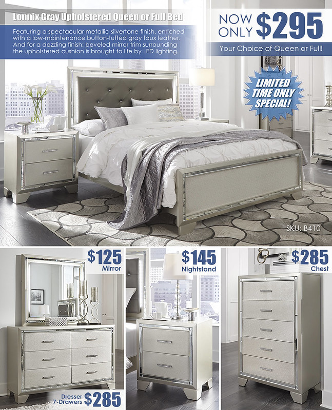 Lonnix Gray Silvertone Upholstered Bed Special_Layout_B410