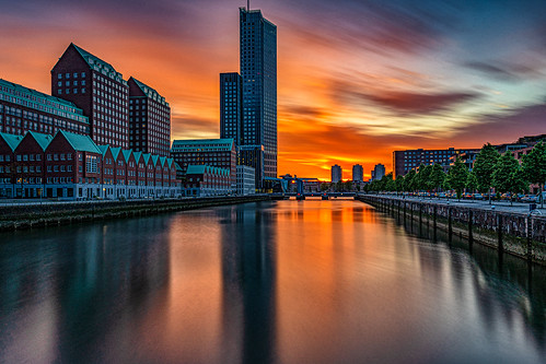 nederland netherlands holland rotterdam city stad sunset zonsondergang