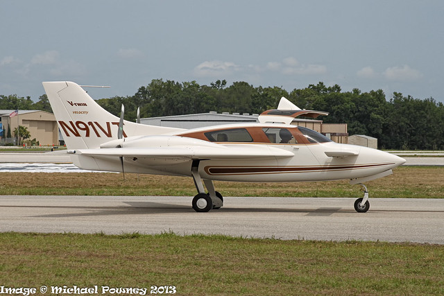N91VT - 2012 build Velocity Aircraft V-Twin, taxiing for departure at Lakeland during Sun 'n Fun 2013