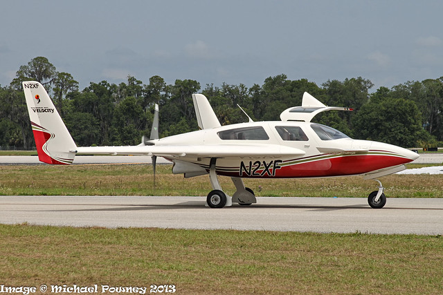 N2XF - 2008 build Velocity Turbo XL-RG, taxiing to parking on arrival at Lakeland during Sun 'n Fun 2013