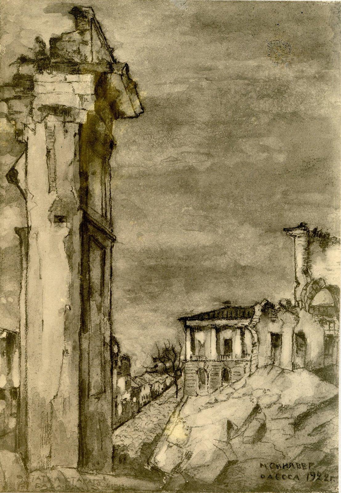 Руины старого базара на фоне дома построенного арх Камбиоджио
