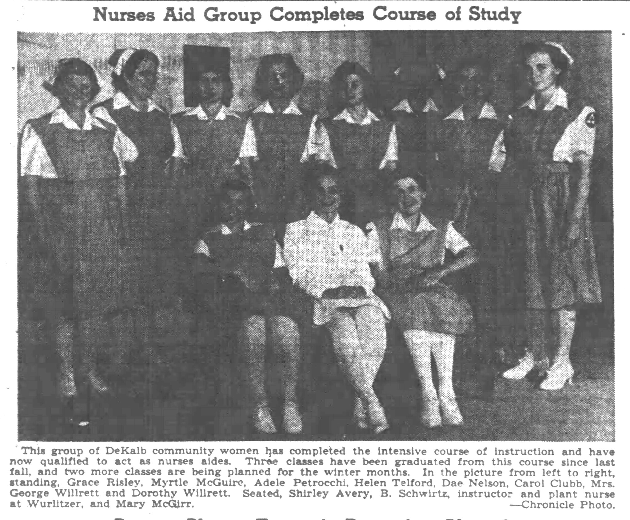 Volunteer Nurse's Aides of DeKalb 1943