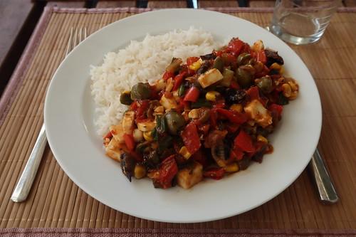Buntes Pfannengemüse mit Reis