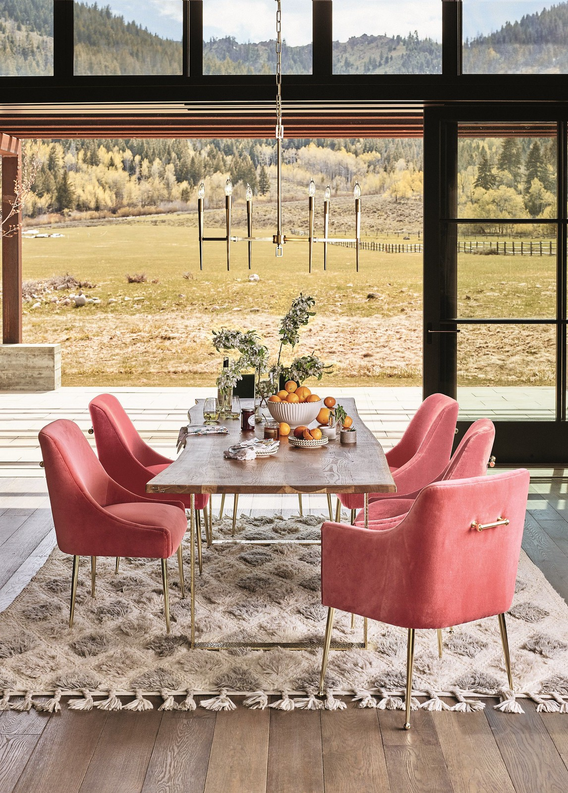 Anthropologie Velvet Elowen Chair Armchair | Eclectic Rustic Dining Room | Velvet Dining Room Chairs | Velvet Dining Chairs | Pink Gold Velvet Chairs | Dining Room Inspiration | Dining Room Ideas | Simple Dining Room Lighting | Dining Room Decor