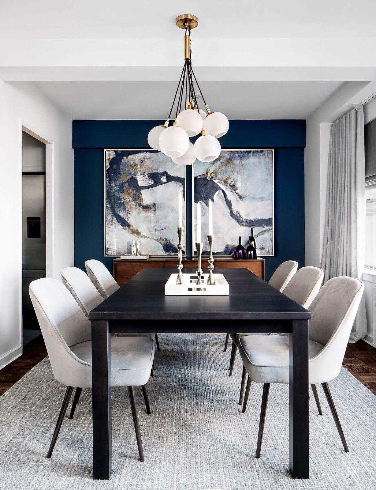 Clean Modern Home Decor | Classic Blue Wall Paint | Light Gray Velvet Chairs | Velvet Dining Room Chairs | Velvet Dining Chairs | Dining Room Inspiration | Dining Room Ideas | Dining Room Decor | Globe Cluster Chandelier Light Fixture