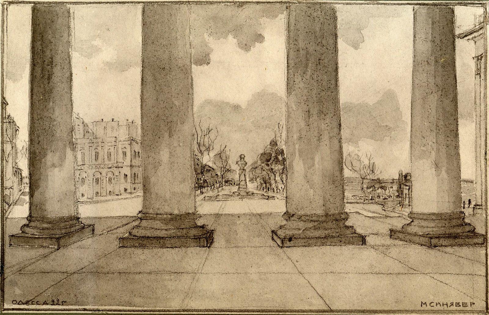 Вид на бульвар из-за колонн биржи