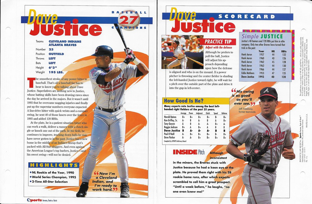 1997 dave justice baseball 11c