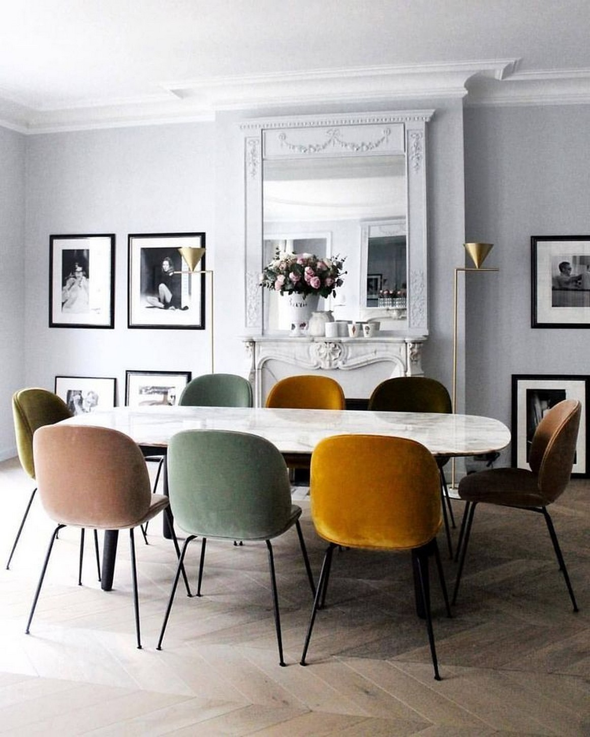 Parisian Style Home Decor | Multi Color Velvet Chairs | Velvet Dining Room Chairs | Velvet Dining Chairs | Dining Room Inspiration | Dining Room Ideas | Dining Room Decor