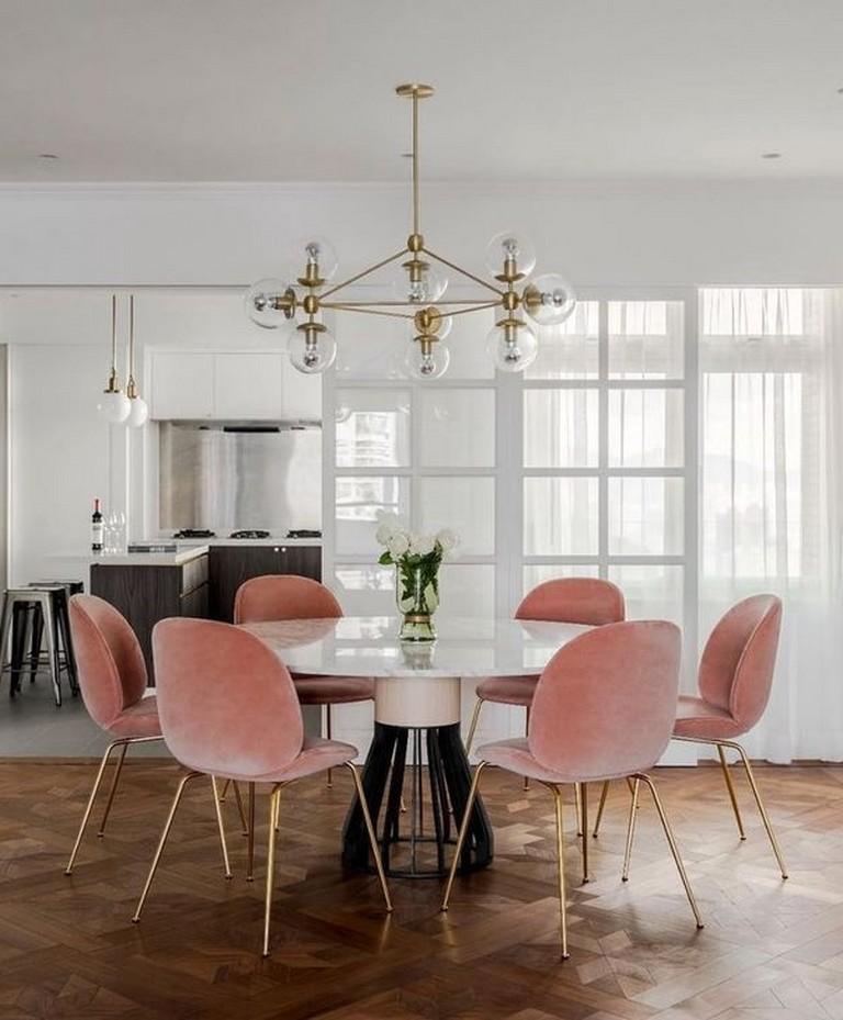 Modern Glam Dining Room | Clear Gold Globe Chandelier | Wood Chevron Flooring | Velvet Dining Room Chairs | Velvet Dining Chairs | Pink Gold Velvet Chairs | Dining Room Inspiration | Dining Room Ideas | Dining Room Lighting | Dining Room Decor