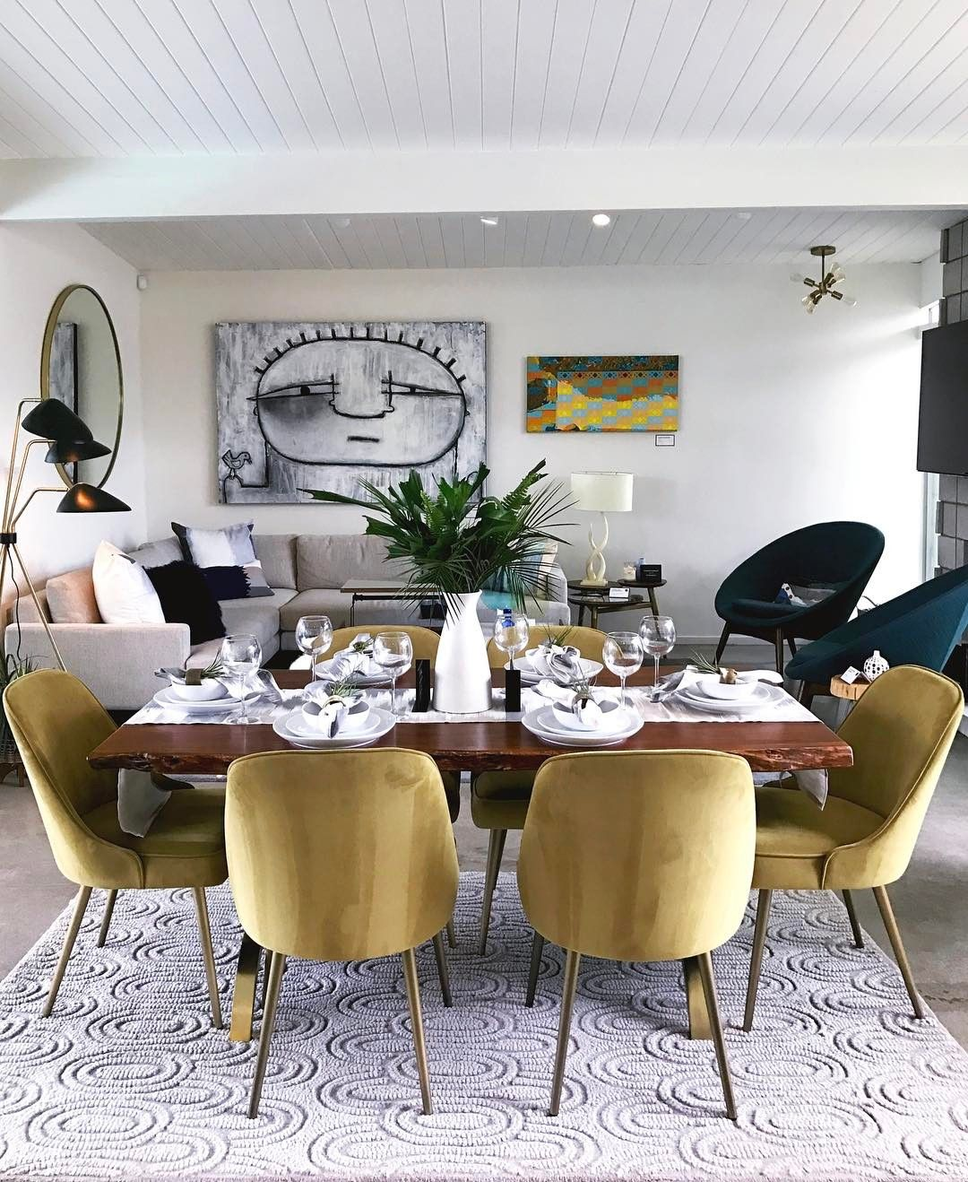 West Elm House | Yellow Green Velvet Chairs | Velvet Dining Room Chairs | Velvet Dining Chairs | Dining Room Inspiration | Dining Room Ideas | Dining Room Decor | Open Concept Living Room Dining Room Idea