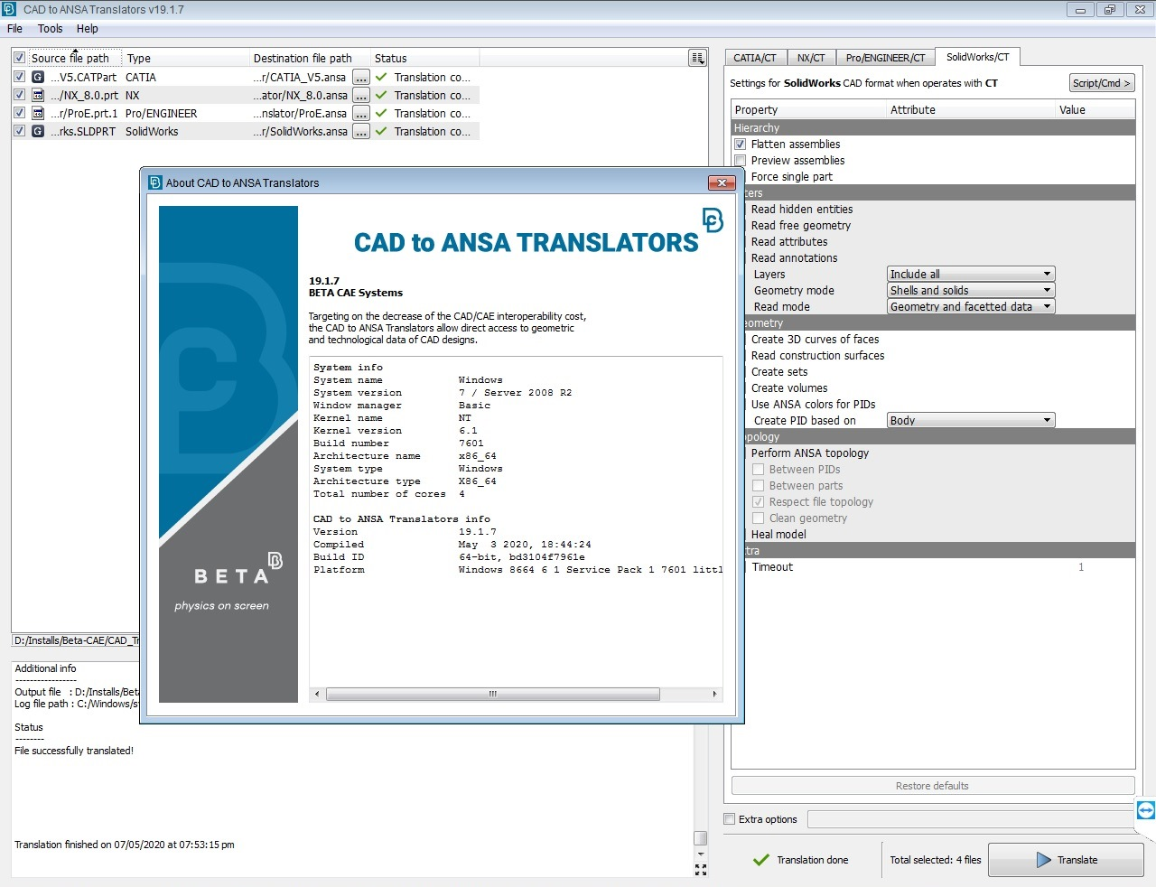 Working with BETA-CAE Systems v19.1.7 CAD to NASA translators