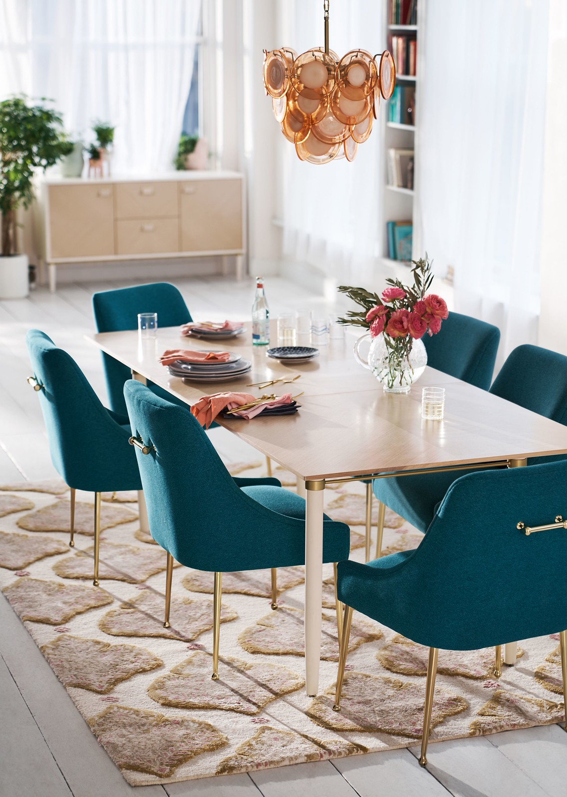 Anthropologie Velvet Elowen Chair | Teal Velvet Chairs | Velvet Dining Room Chairs | Velvet Dining Chairs | Dining Room Inspiration | Dining Room Ideas | Dining Room Decor | Rose Gold Chandelier Light Fixture