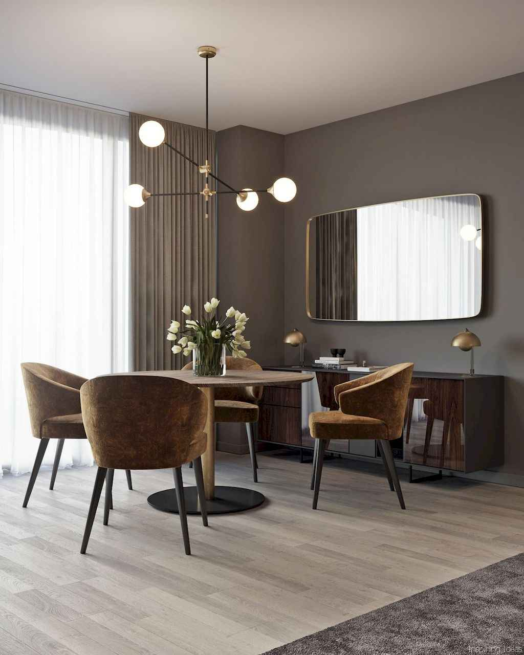 Warm Modern Home Decor | Brown Velvet Chairs | Velvet Dining Room Chairs | Velvet Dining Chairs | Dining Room Inspiration | Dining Room Ideas | Dining Room Decor | Modern Globe Chandelier Light Fixture