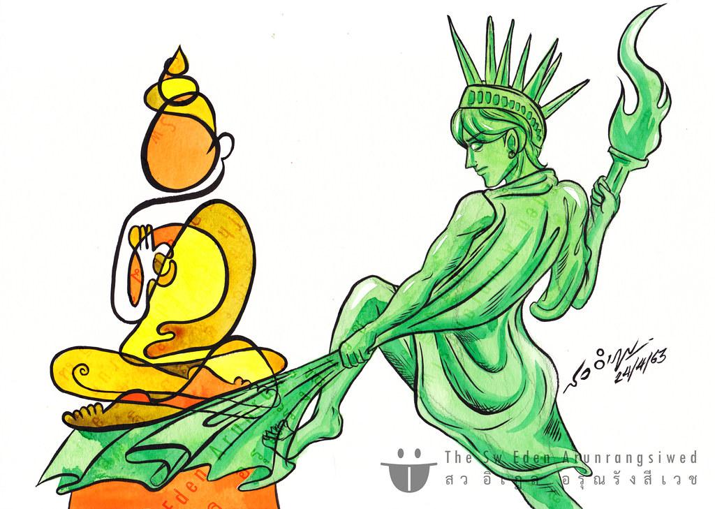 เทพีเสรีภาพกับพระพุทธรูป