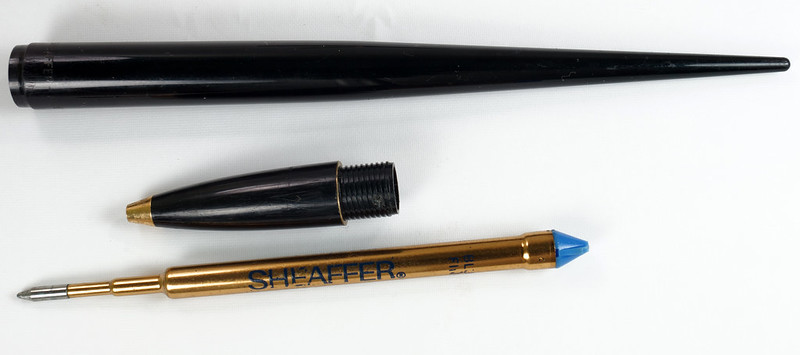 RD19287 Vintage Sheaffer Black Onyx Ball Point Pen Desk Set J6 47105 J6 1950 DSC03905