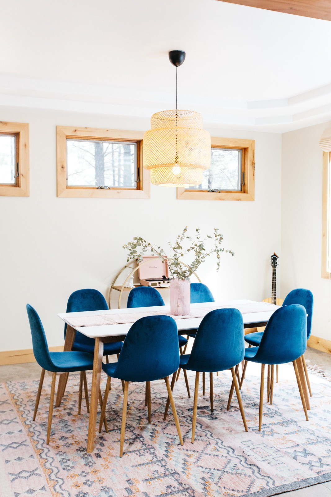 Blue Velvet Chairs | Velvet Dining Room Chairs | Velvet Dining Chairs | Dining Room Inspiration | Dining Room Ideas | Dining Room Decor | Straw Ikea Chandelier Light Fixture