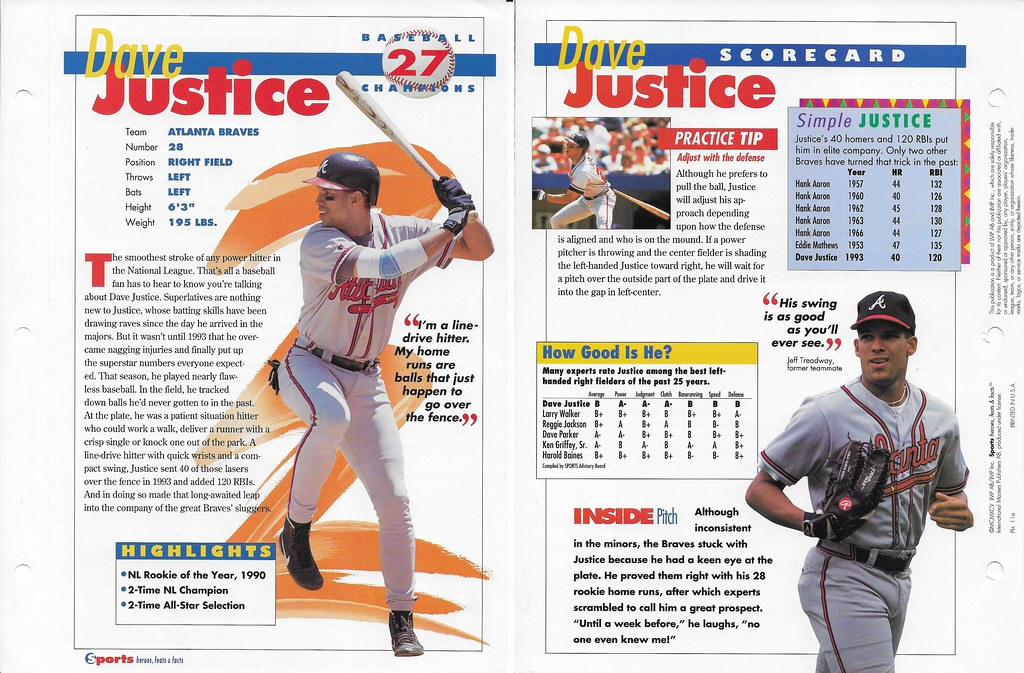 1995 dave justice baseball 11a