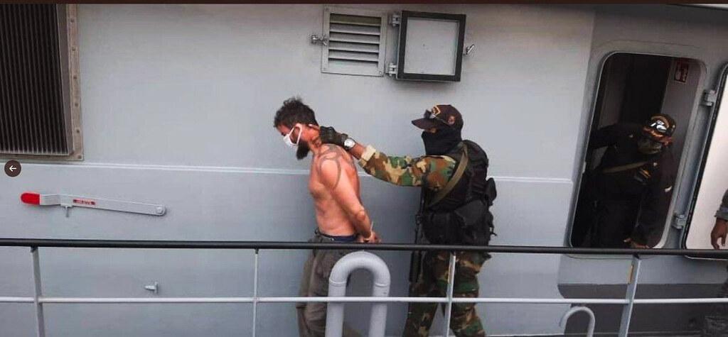 美國「白銀公司」傭兵發起的政變行動失敗後被委內瑞拉當局逮捕。(圖片來源:Twitter)