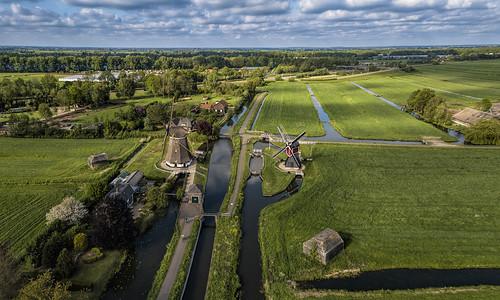 aerial drone djimavicpro westbroek maarsen mill landscape netherlands nederland lock blue clouds outdoors outdoor panorama provincieutrecht sky thenetherlands utrecht wimvandem golddragon