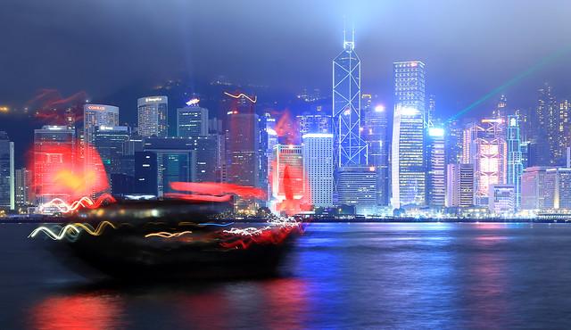 Hong Kong junk in front of the Hong Kong skyline