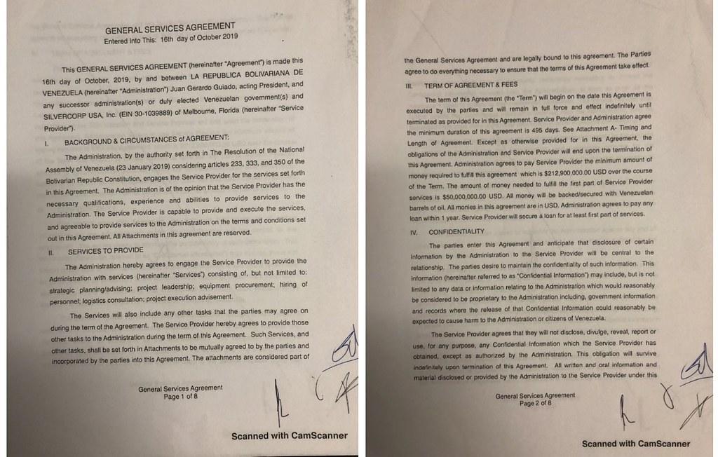 古德洛與瓜伊多簽署的合約。(圖片來源:Venezuela Analysis)
