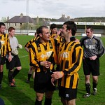 Marco De Barros & Gary McGowan The Huntly squad celebrate clinching the 2004/05 championship (Dave Moore)