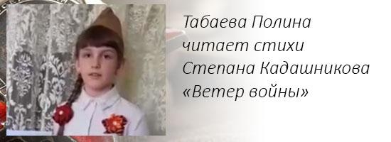 Табаева Полина читает стихи Степана Кадашникова «Ветер войны»