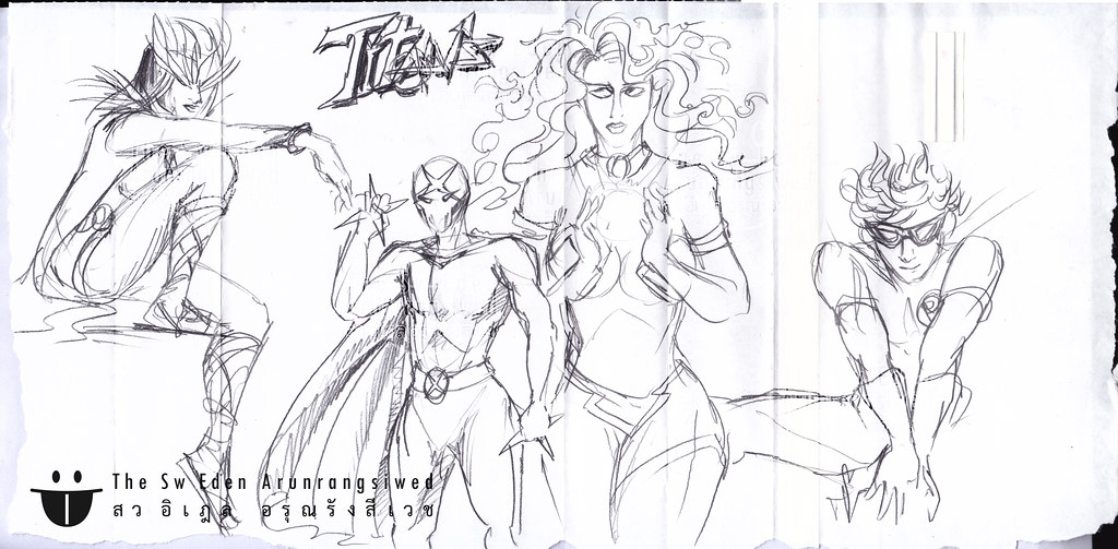 Raven RedX Red X Teen Titans DC Comics character sketch drawing pencil penciling artwork page