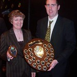 Richard Bowman presented with the Player's Player of the Year by Norma Mackay Andrew Hassan present Ross Campbell with the Huntly FC Player of the Year (Fraser Newlands)