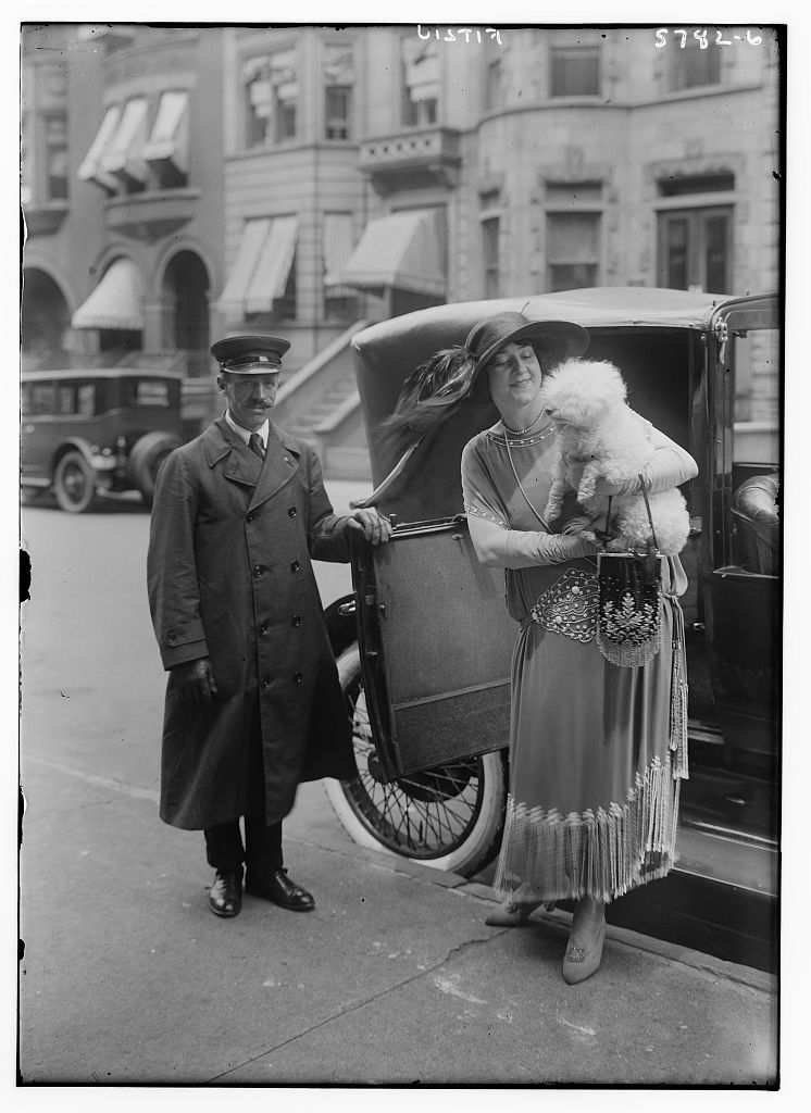 Fitziu [holding dog, coming out of car] (LOC)