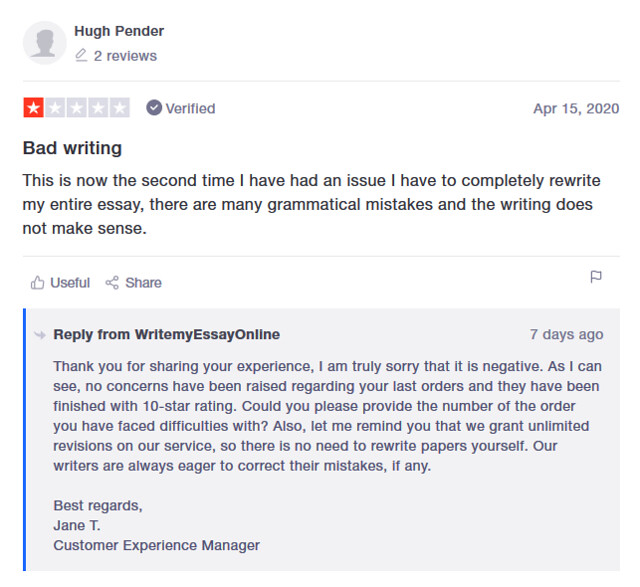 Trustpilot's review on WriteMyEssayOnline
