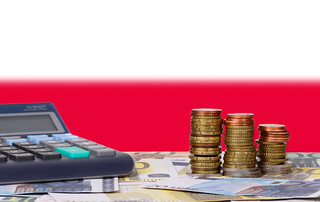 Calculator with money and coins in front of flag of Poland